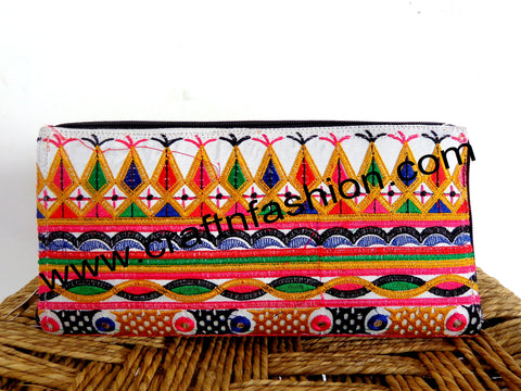 Vintage Handmade Embroidered Clutch Purse