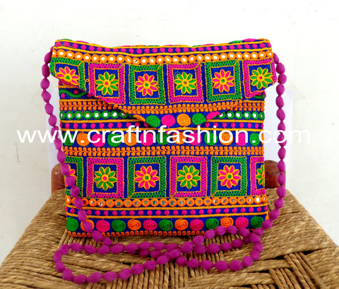 Indian Mirror Work Cross Body Bag
