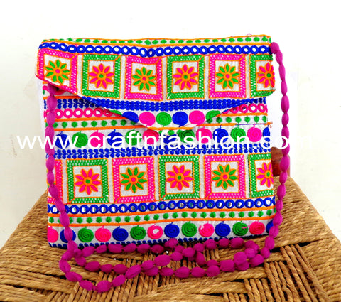 Mirror Work Cotton Thread Work Clutch Purse