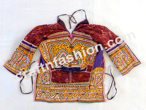 Bandhej Print Traditional Vintage Embroidery Kutch Blouse