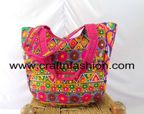 Mirror Work Floral Hand Embroidered Tote Bag