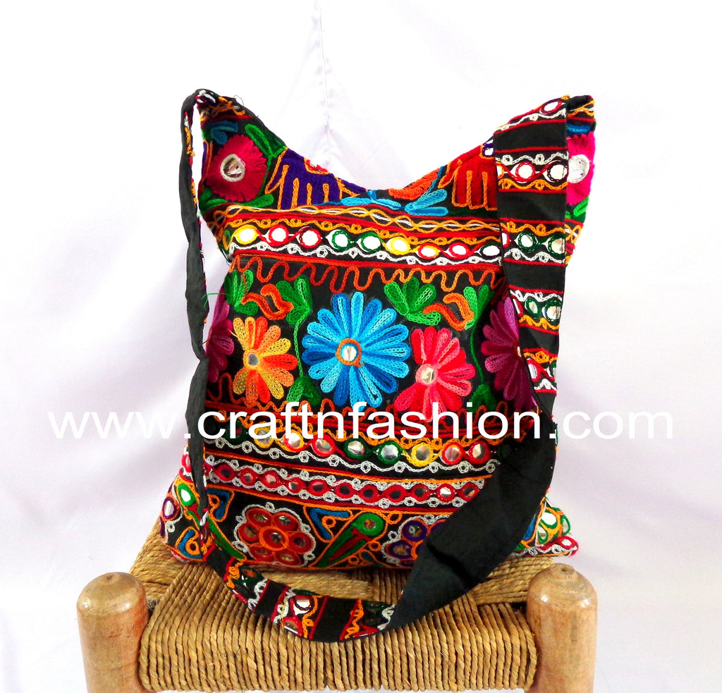 Mirror Work Embroidered Cross Body Bag