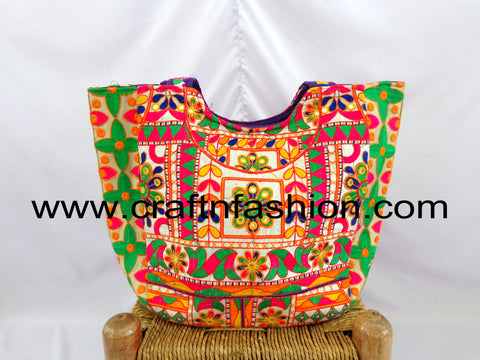 Multicolored Rabari Hand Work Tote Bag