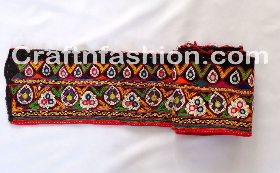 Multi-Color Embroidered Mirror  Work Lace