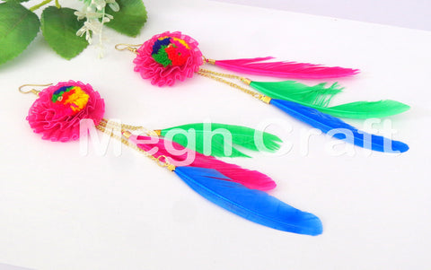 Feather and Pom Pom Earrings