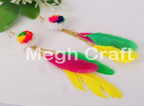 Designer Feathers Pom Pom Earrings