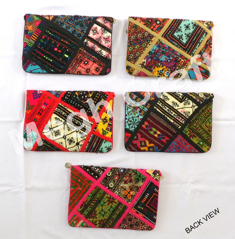 Wholesale Lot : -Vintage Kutch Banjara Coin clutch - Indian Boho Gypsy Coin Clutch - 5  Pieces