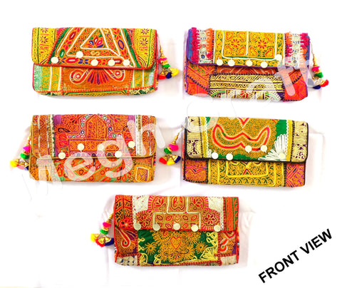 Wholesale Lot : Vintage Gypsy Banjara Coin Clutch Purse -Designer Boho Banjara Clutch Bag -5 Pieces