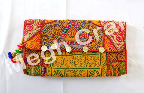 Wholesale Lot : Vintage Banjara clutch bag -Indian ethnic gypsy tribal bohemian Coin Clutch  -5 Pieces