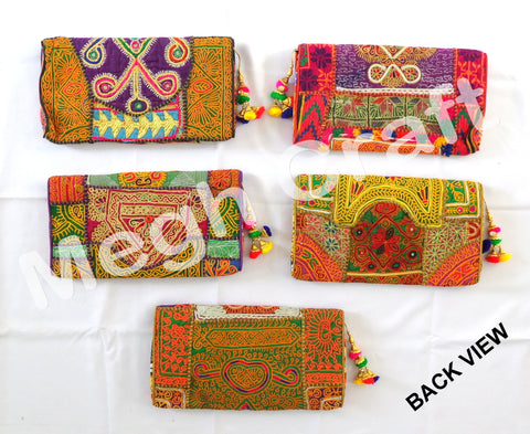 Wholesale Lot : Afghan Boho  Clutch Bag- Bohemian Banjara Ethnic Handbag - 5 PIeces