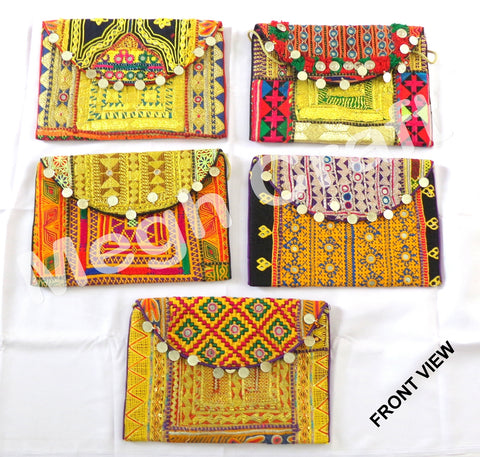Wholesale Lot : Vintage Hand embroidery Gypsy Tribal Banjara Clutch Coin Purse-5 Pieces