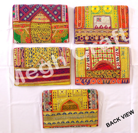Wholesale Lot : Banjara Vintage Clutch Purse-Vintage Zari Work Clutch Purse-Bohemian Vintage Clutch-5 Pieces