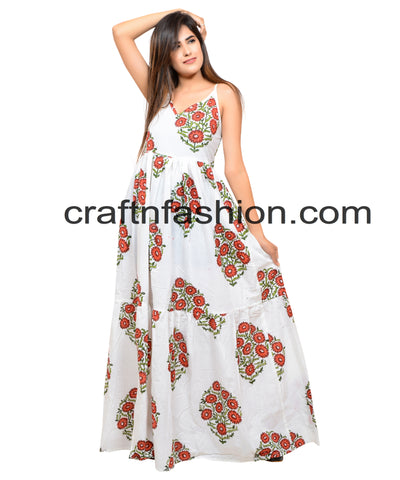 Beach Wear Block Printed Boho Maxi Dress