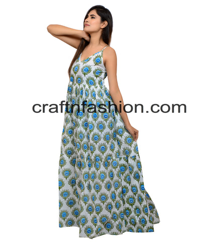 Boho Gypsy Hand Block Printed Dress