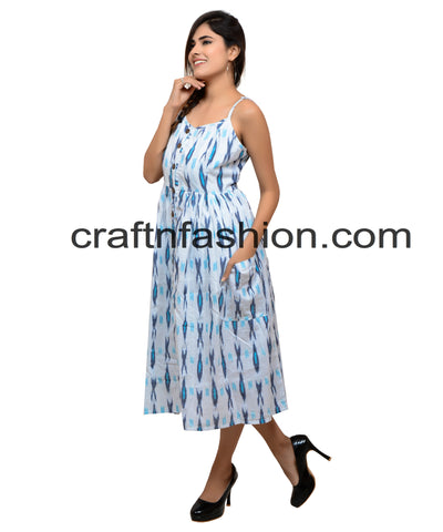 Party Wear Indo Western Cotton Ikat Dress