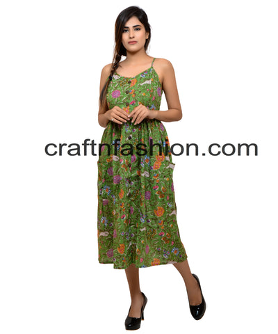 Bohemian Gypsy Floral Printed Cotton Pocket Dress