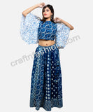 Boho Fashion Wear Indigo Skirt & Butterfly Sleeve Top