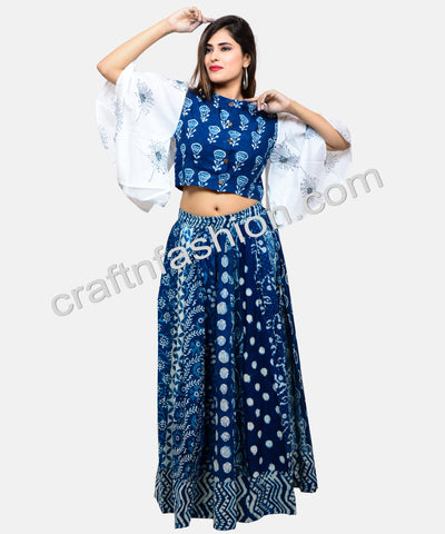 Block Printed Indo Western Blouse & Skirt