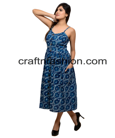 Indigo Block Printed Indo Western Pocket Dress