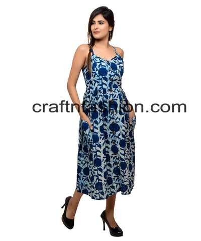 Exclusive Summer Wear Cotton Indigo Dress