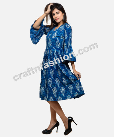 Indian Party Wear Indigo Umbrella Sleeve Tunic
