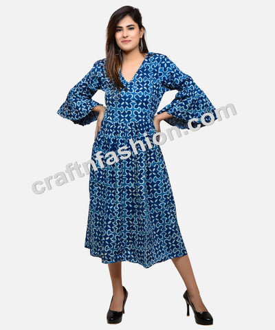 Cotton Hand Block Printed Indigo Kurti