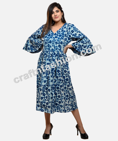 Hand Block Printed Fashion Wear Indigo Dress