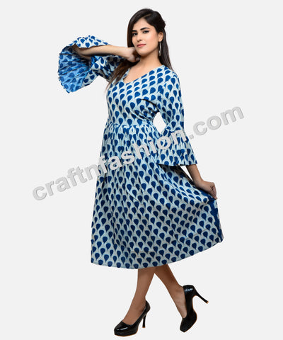 Bohemian Style Umbrella Sleeve Indigo Dress