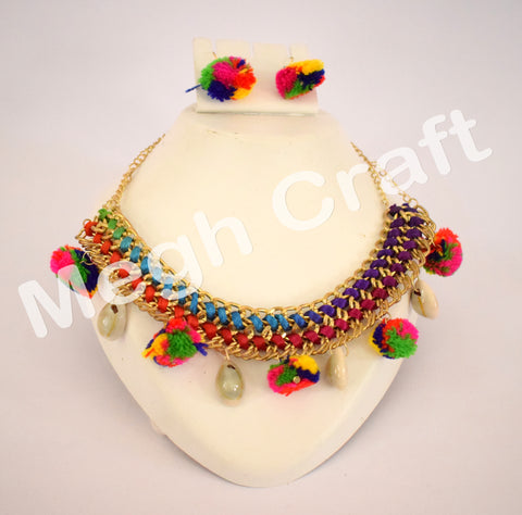 Costume Wear Pom Pom shell necklace