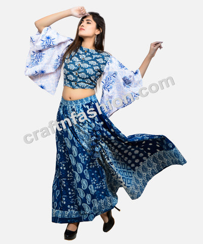 Indo Western Style Hand Block Printed Skirt & Top