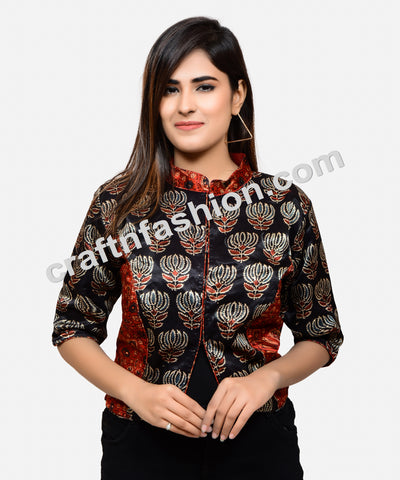 Lotus Print Fashionable Gaji Silk Blouse Top