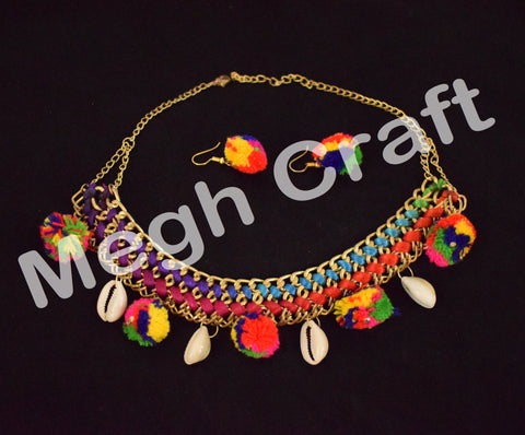 Multicolor Handmade pom pom necklace