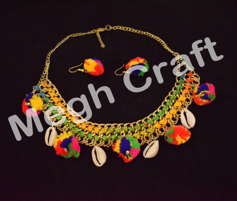 Vintage Tribal Choker pom pom necklace