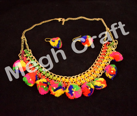 Designer Fashion Wear pom pom Necklace