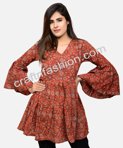 Hand Block Printed Cotton Summer Fashion Top