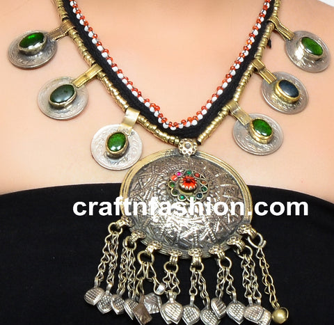 Stone Beaded Kuchi German Silver Necklace