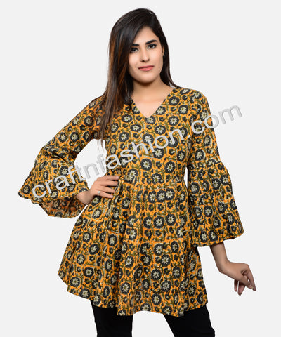 Indian Floral Print Umbrella Sleeve Cotton Top