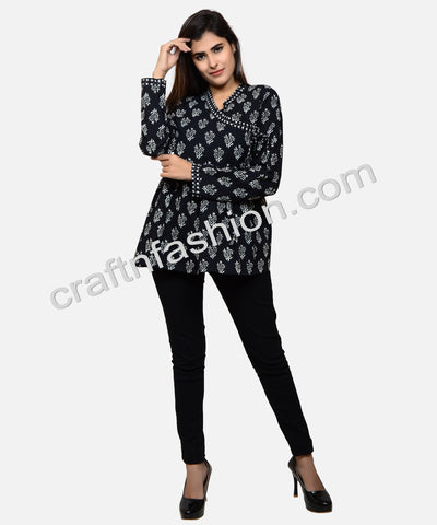 Black Cotton Floral Print Angrakha Top