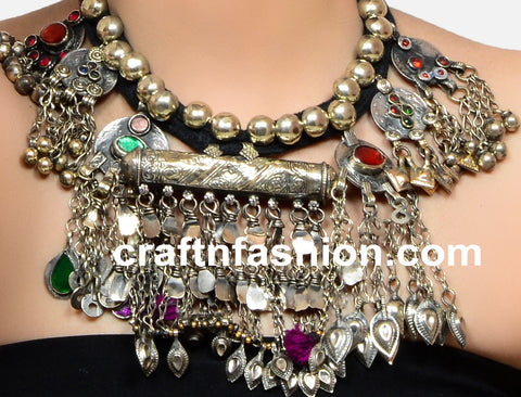 Designer German Silver Afghan Necklace
