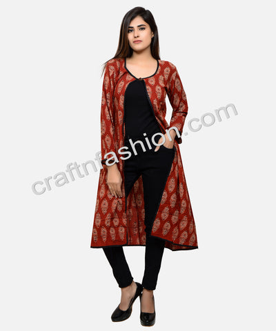 Red Ajrakh Print Long Bohemian Jacket