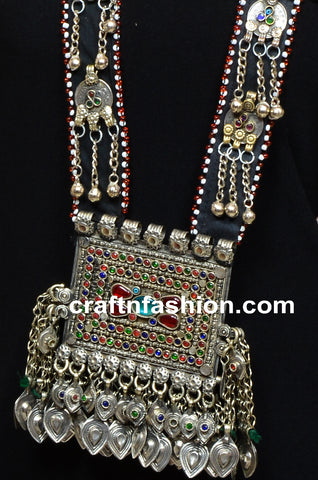 Long Afghani German Silver Pendant Necklace