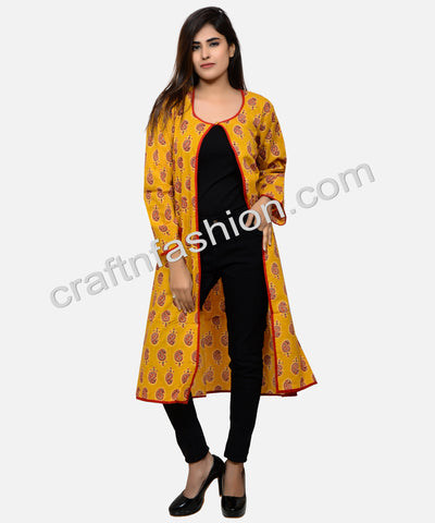 Block Printed Cotton Long Jacket
