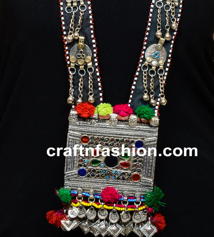 Women's Long Afghani Pom Pom Necklace