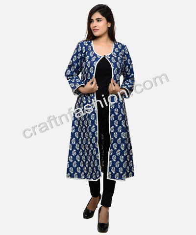 Ladies Fashion Indigo Long Summer Coat