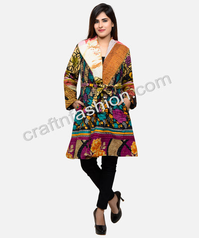 Winter Wear Reversible Silk Kantha Jacket