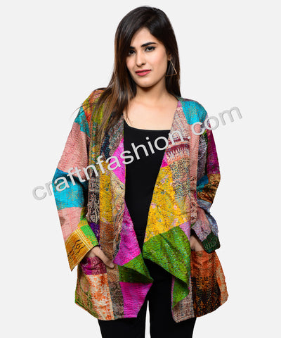 Bohemian Kantha Reversible Patch Work Jacket