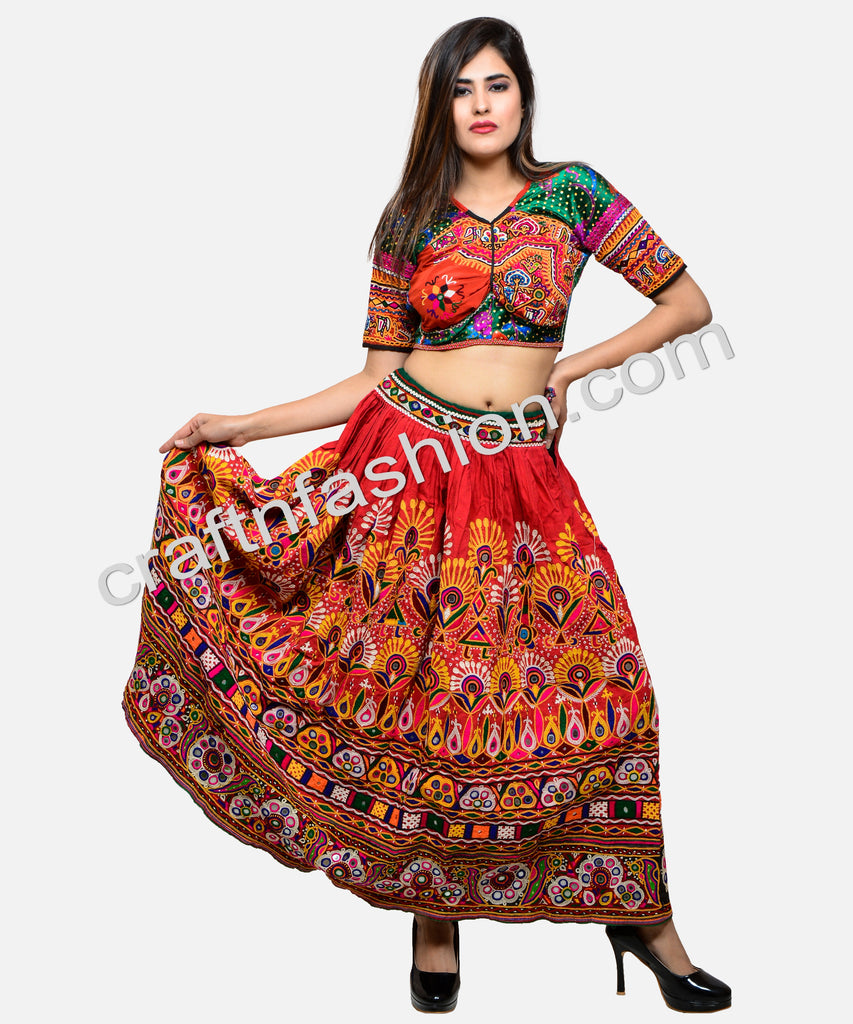 263fd5c1df0580 Heavy Kutch Hand Embroidered Navratri Skirt – Craft & Fashion