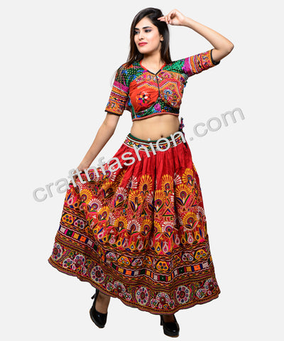 Heavy Kutch Hand Embroidered Navratri Skirt