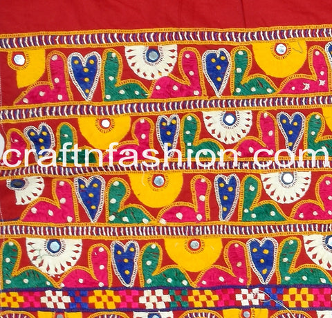 Mirror Beaded Embroidered Kutch Lace Border