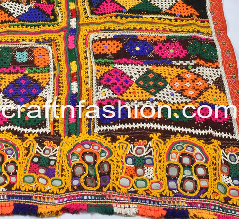 Designer Indian Pure Woolen Mirror Work Shawl